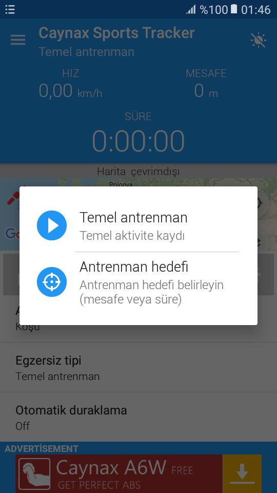Egzersiz Tipi ayarlama ekranı
