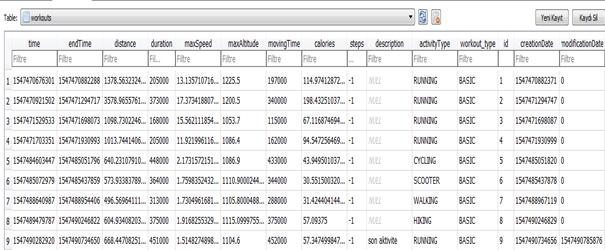 Workouts tablosunda tutulan uygulama verileri